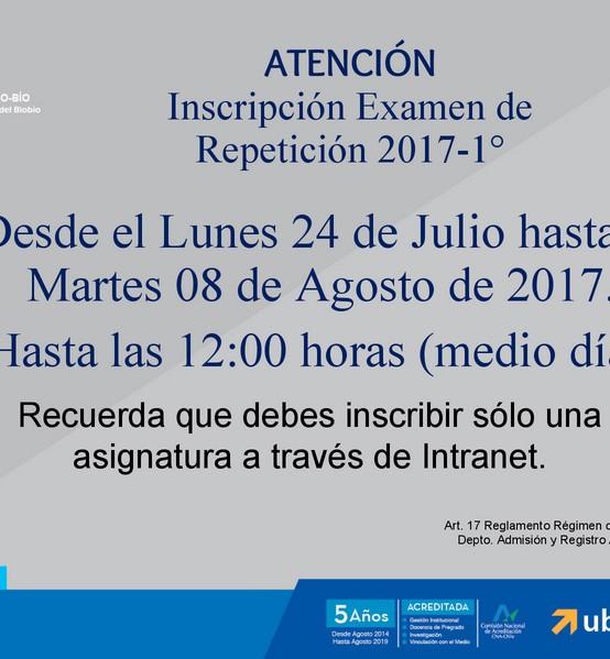 Información Importante: Periodo de Inscripción Examen de Repetición